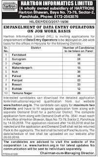 Hartron-DEO Data Entry Operator Govt Jobs Recruitment Exam Notification