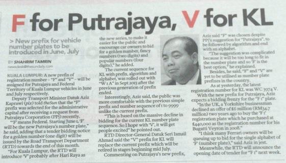 Plat Kereta F & V Untuk Putrajaya, Wilayah Persekutuan Mulai Jun 2016