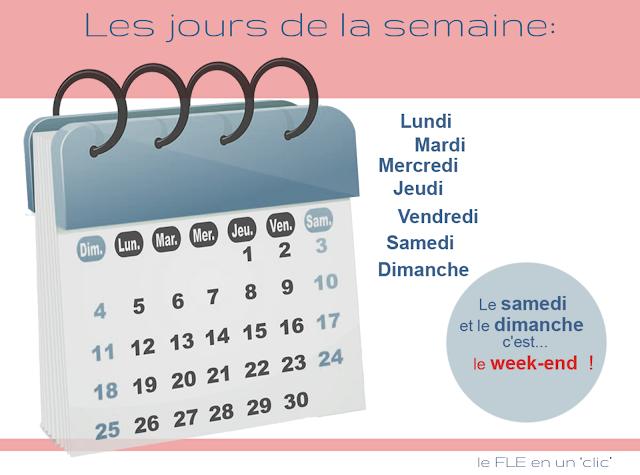 Vocabulaire, infographie, les jours de la semaine en français, le FLE en un clic