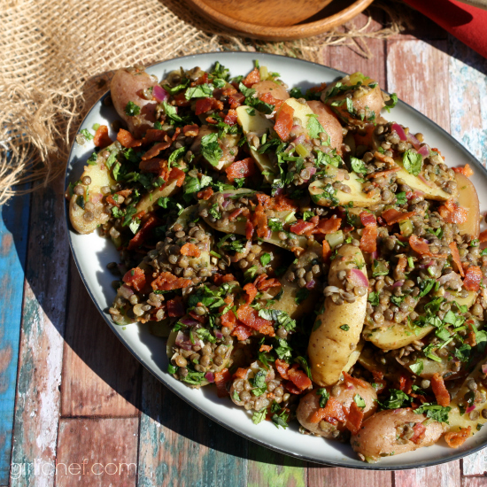 Lentil and Fingerling Potato Salad w/ Warm Bacon Dressing