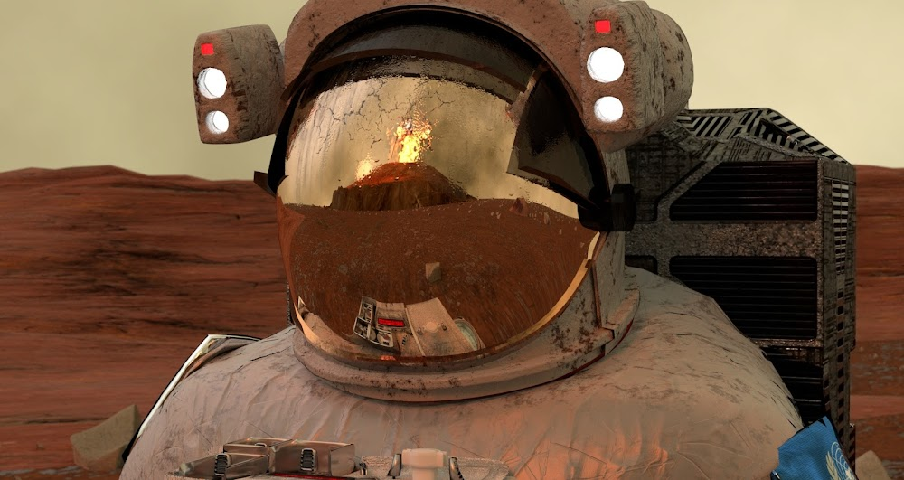 Eruption of the Olympus Mons on Mars seen by an astronaut