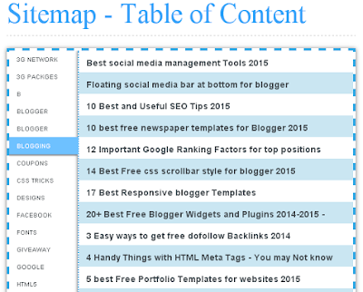 Table of Content/Sitemap For Blogger