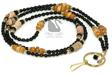 Brown Jasper Amber Gemstone Jet Gold Beaded Lanyard (L100)