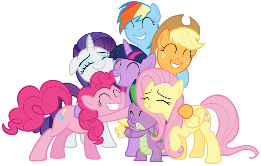 Mane Six and Spike group hug