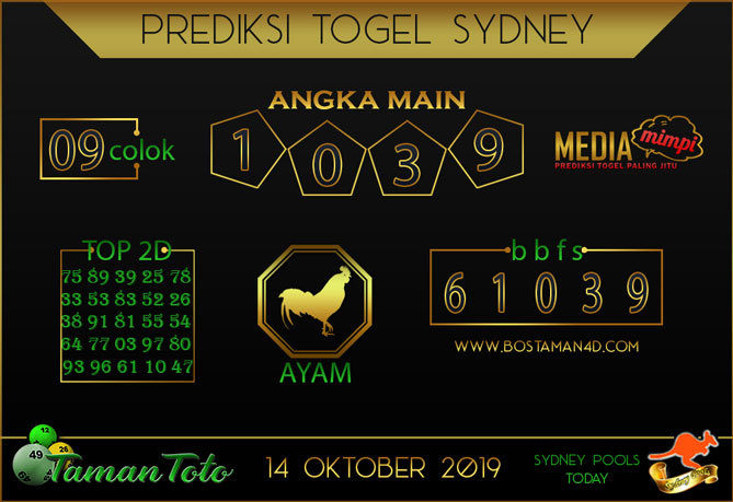 Prediksi Togel SYDNEY TAMAN TOTO 14 OKTOBER 2019