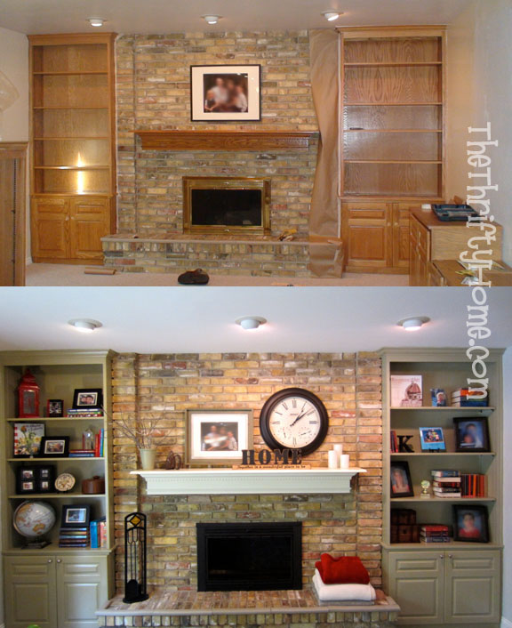 Stone Fireplace With Built In Cabinets: *The Thrifty Home: Painted Fireplace Mantel, Built-In