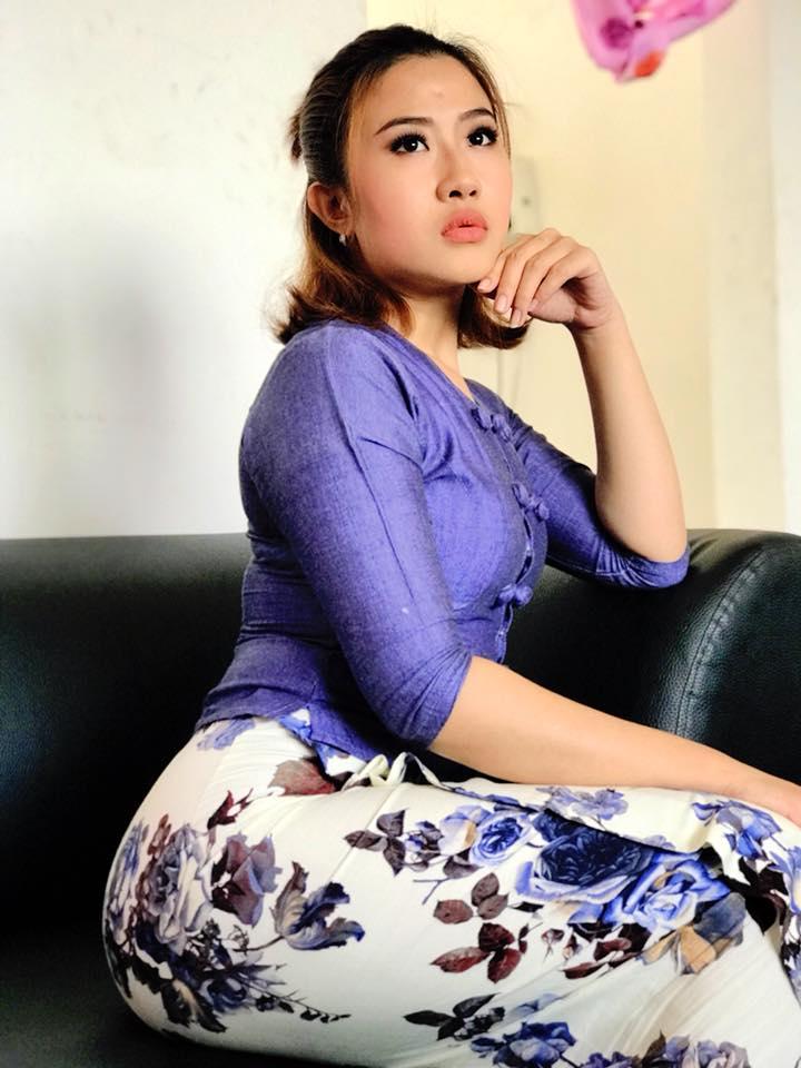 Nan Htaik Htar San in Purple Burmese outfit dress looks