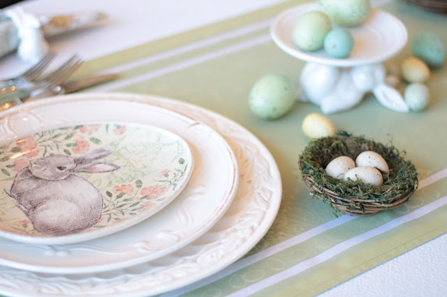 classic easter tablescape pottery barn plates green runner eggs nests pastel decor