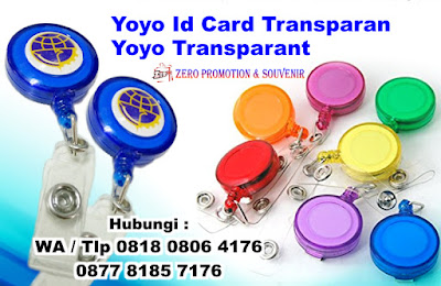 Yoyo Transparan + Logo, GANTUNGAN ID CARD YOYO TRANSPARAN, Yoyo ID Card, Badge Reel, Cetak Yoyo Berlogo, Yoyo ID Card Warna Semi Transparan