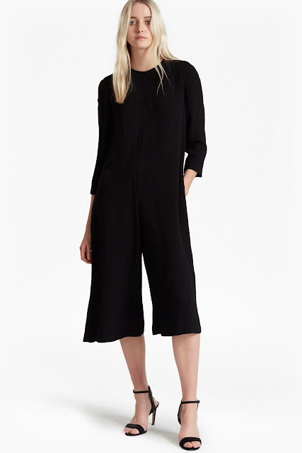 long sleeve cropped jumpsuit, french connection black jumpsuit,