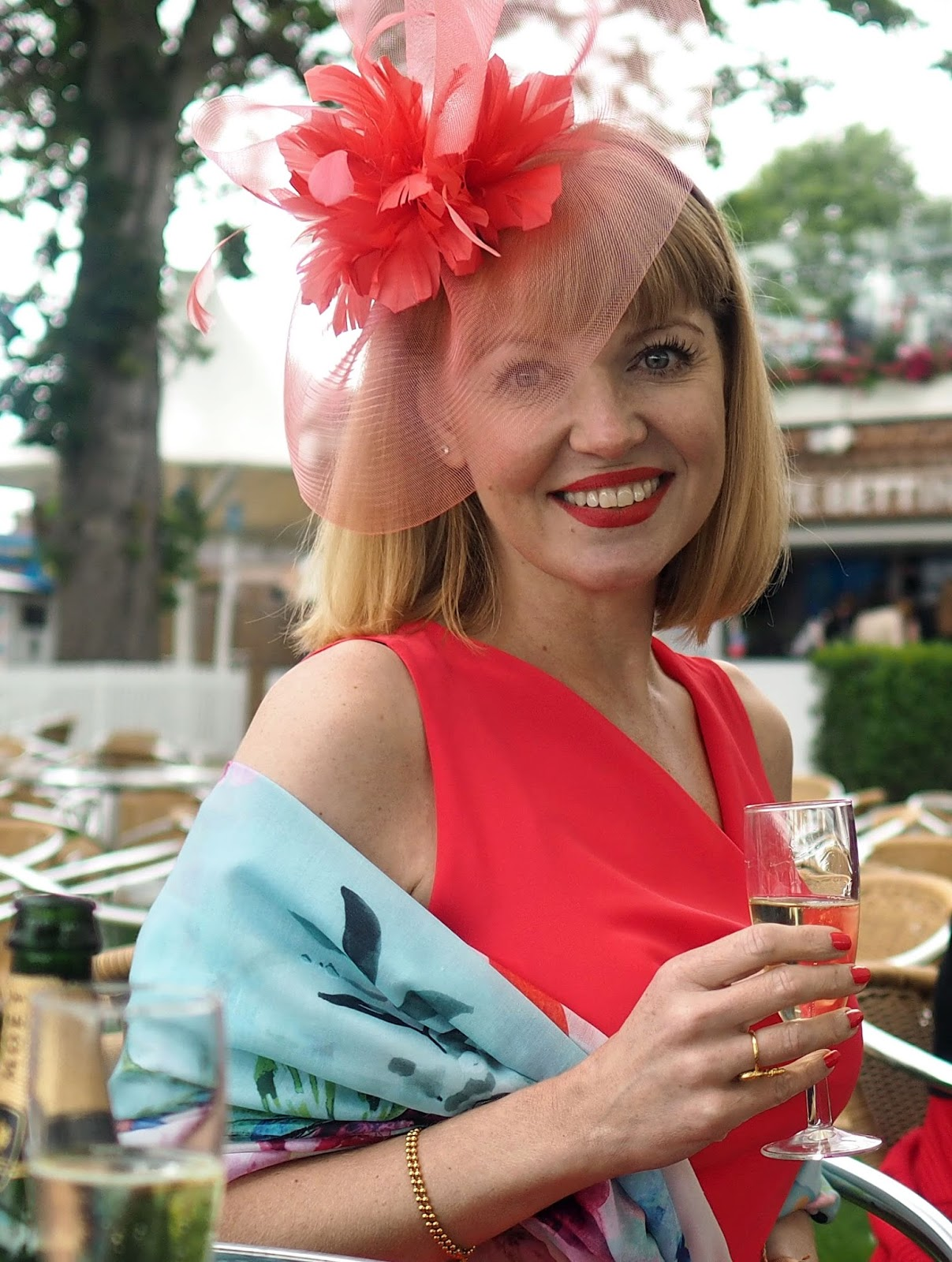 York Races. chiffon dress, fascinator and floral scarf