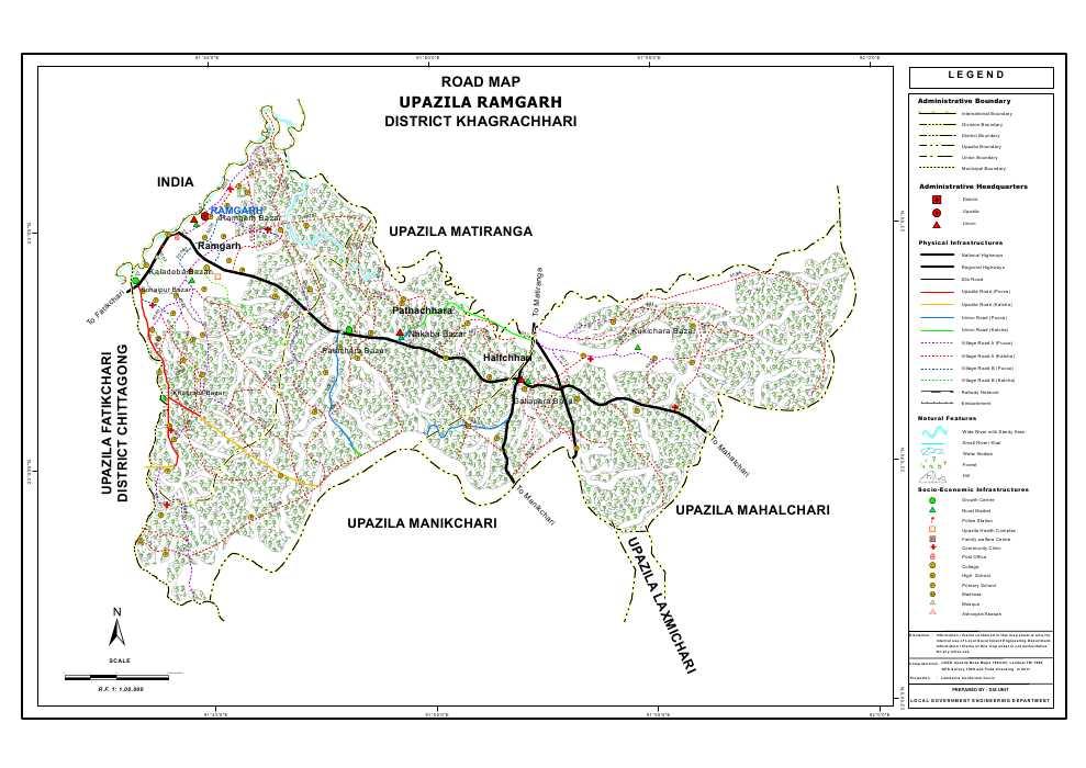 Ramgarh Upazila Road Map Khagrachari District Bangladesh