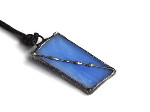 Blue Stained Glass Necklace