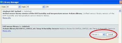 libreria DHT per IDE Arduino Versione 1.6.5 - Fonte Arduino IDE
