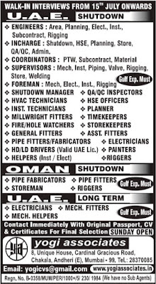 UAE Shutdown jobs Interview in Mumbai