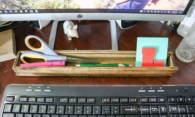 Country Living Fair loot: long box as a desk organizer