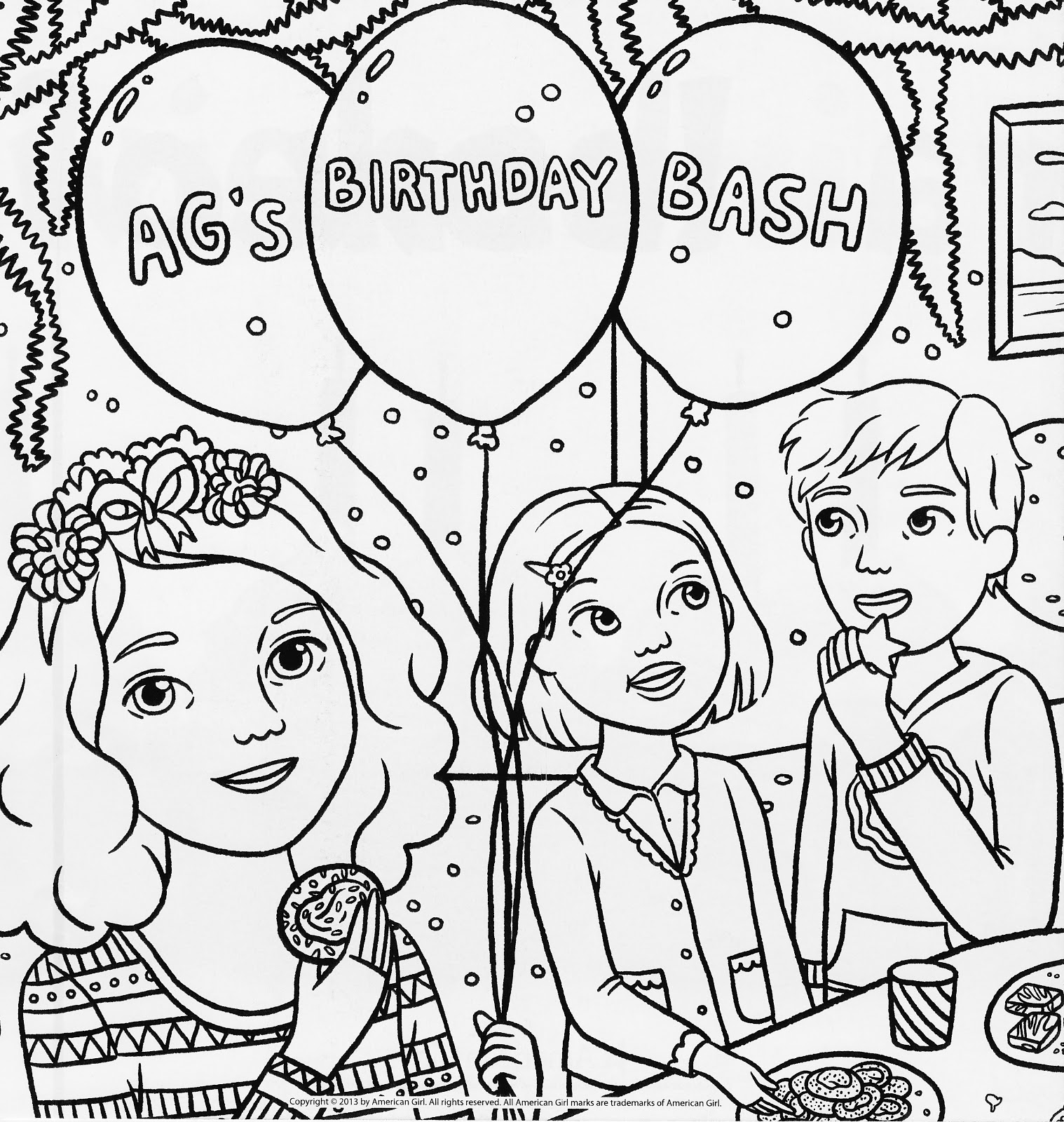Bonggamom finds american girl magazine special birthday for American girl doll coloring page