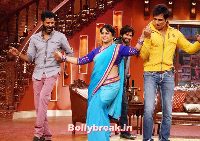 Prabhu Dheva, Upasana Singh, Shahid Kapoor, Sonu Sood, Shahid, Sonakshi promote R Rajkumar on Comedy Nights with Kapil