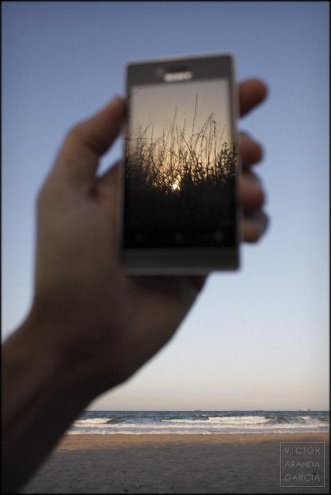 fotografía, El_Saler, playa, reflejo, móvil, naturaleza, autorretrato
