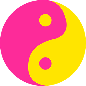 ying yang pink and yellow sign