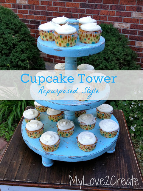 Cupcake tower make with repurposed materials