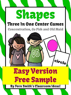Fern Smith's Freebie Friday's Easy Version of Shapes Center Game