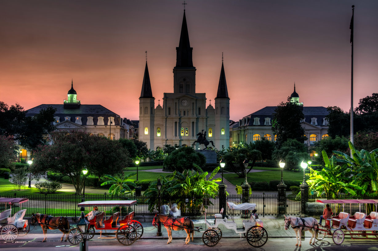 Activities and Attractions in New Orleans, Louisiana | Jackson Square at night