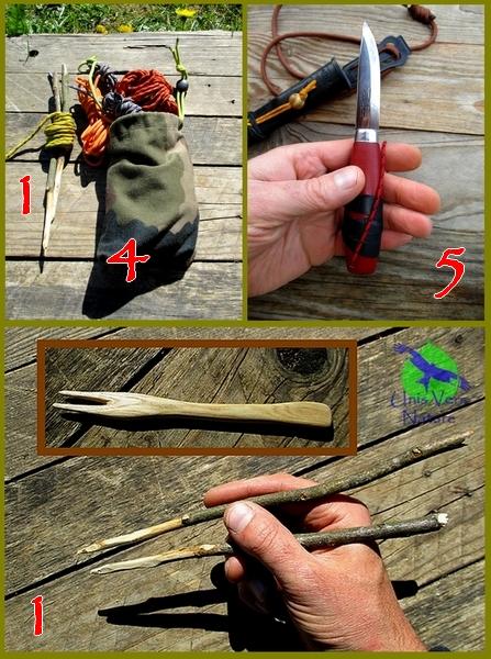 Mora, cordelettes, bushcraft, survie, sécuriser, ranger, baguettes, fourchette, bois, sculpter