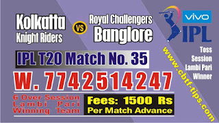 IPL 2019 35th Match Prediction Tips by Experts KKR vs RCB
