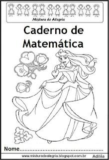 Capa caderno matemática princesas