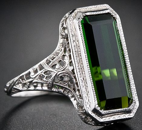 A lovely antique tourmaline filigree ring from the 1930's.