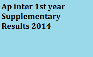 Manabadi AP Inter 1st Year Supplementary Results 2014
