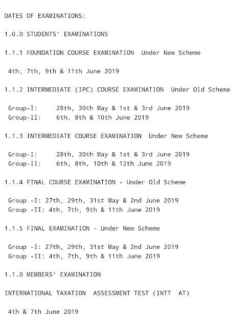 POSTPONEMENT OF CHARTERED ACCOUNTANT EXAMINATIONS, MAY 2019