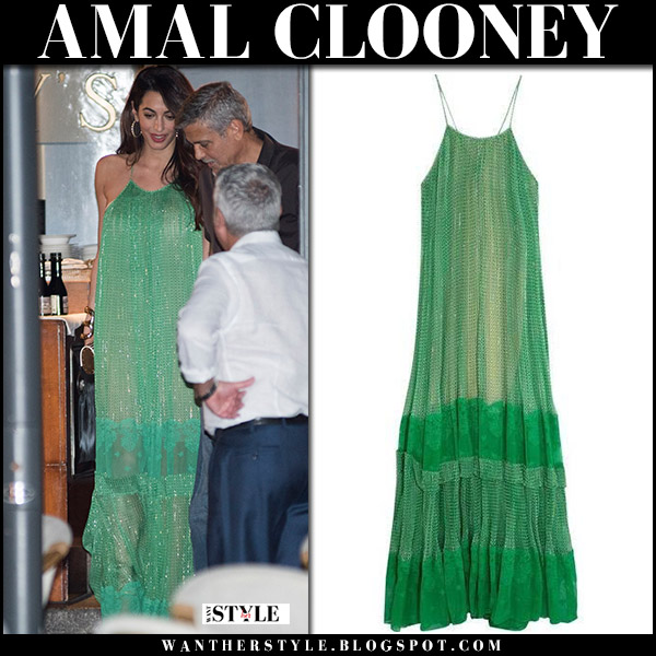 Amal Clooney George green georgette maxi dress celebrities in stella mccartney italy august 2017