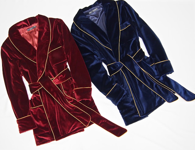 Mens velvet robes smoking jacket vintage gentleman dressing gown red blue custom made monogrammed