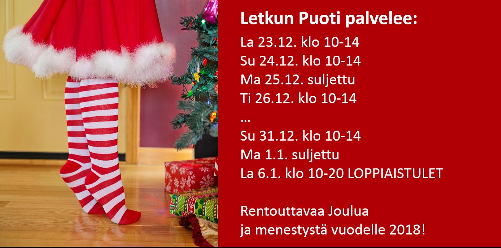 joulu 2018 aukioloajat Letkun Puoti: Puodin poikkeavat aukioloajat Joulun ja uuden vuoden  joulu 2018 aukioloajat