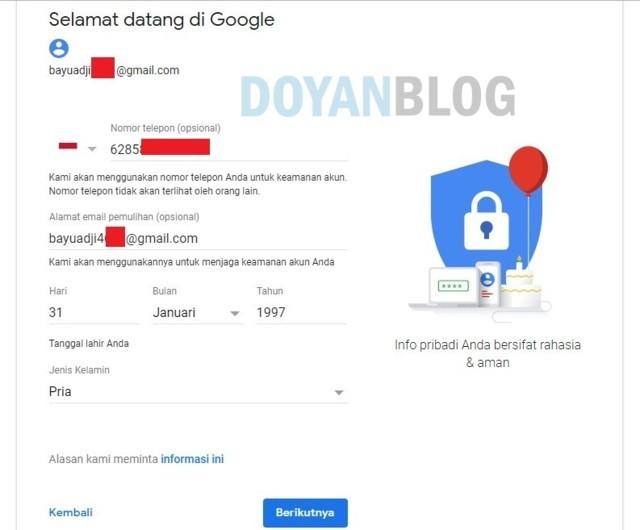 mengisi form gmail seperti tanggal ulang tahun dan jenis kelamin