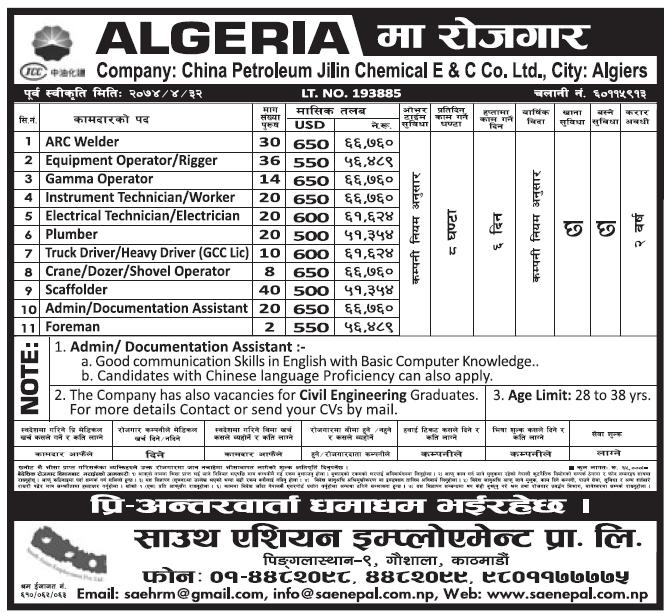 Jobs in Algeria for Nepali, Salary Rs 66,760