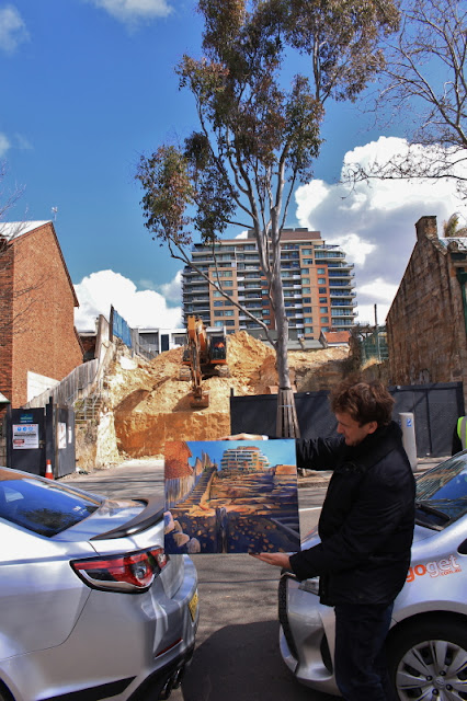 plein air oil painting of excavation of sandstone between Harris and Mount Streets Pyrmont by industrial heritage artist Jane Bennett