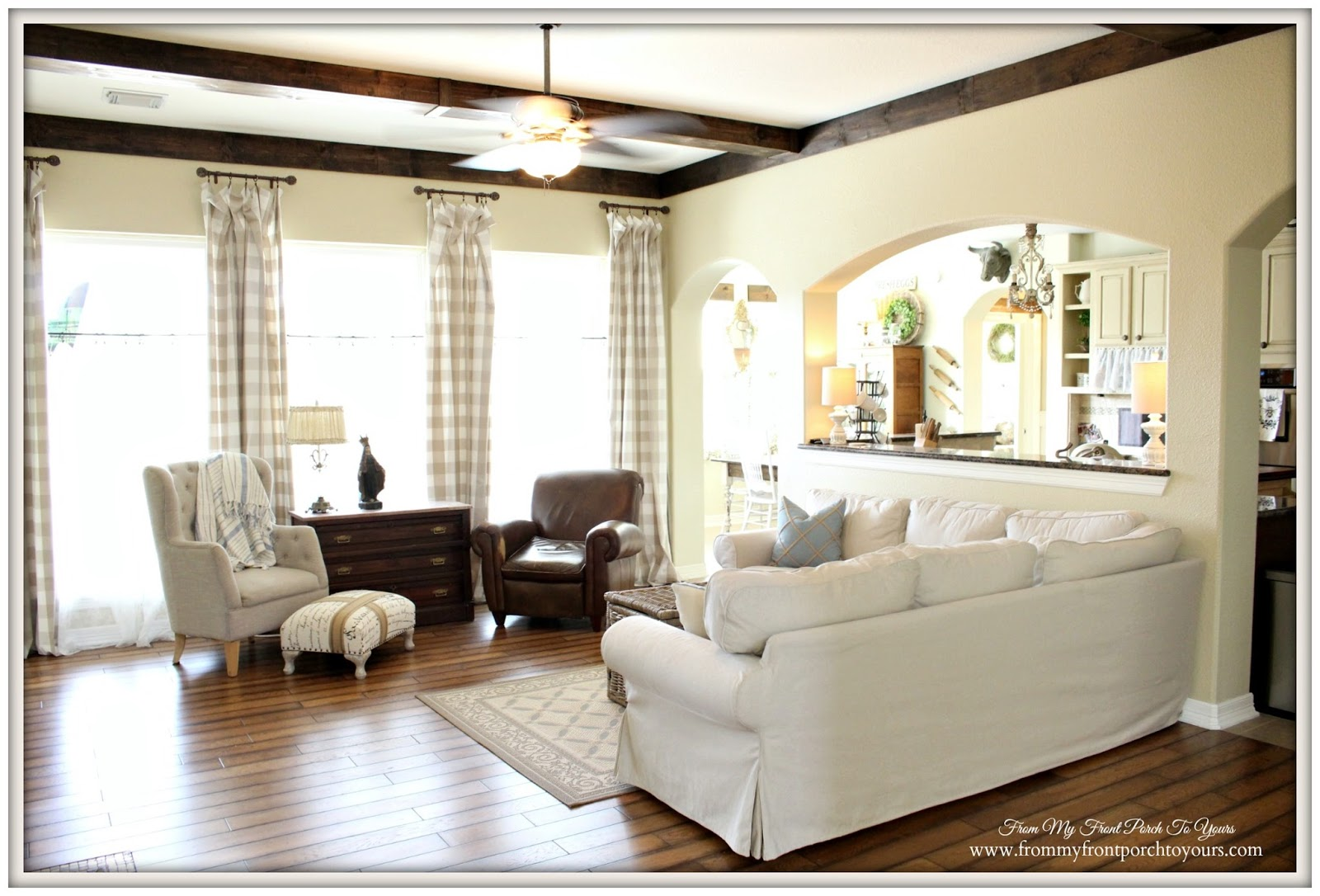 From My Front Porch To Yours: Farmhouse Living Room With ... on Farmhouse Curtain Ideas For Living Room  id=51738
