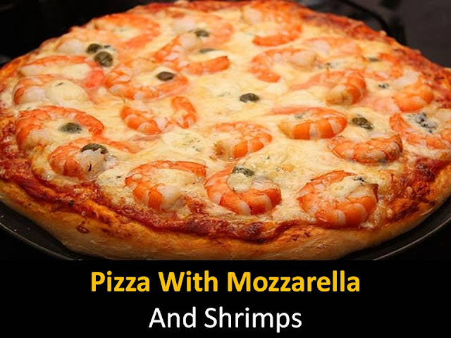 Pizza with mozzarella and shrimps