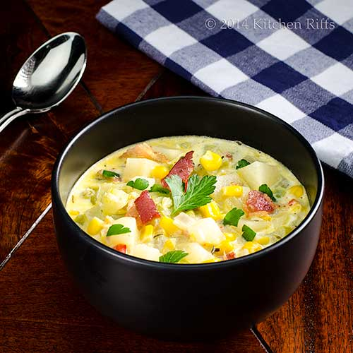 Celery, Corn, and Bacon Chowder