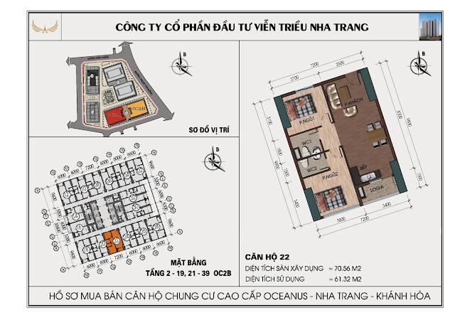 Sơ đồ căn hộ số 22 tòa OC2BViễn Triều Nha Trang