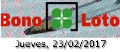 Bonoloto del jueves 23 de febrero de 2017