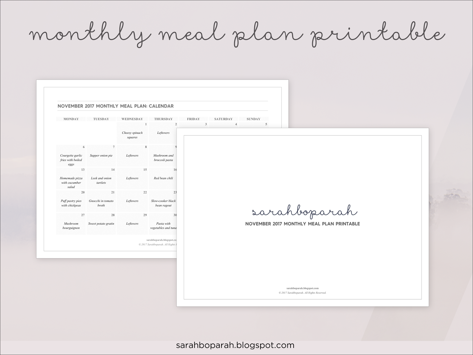 November 2017 Monthly Meal Plan Printable Calendar from Sarahboparah.