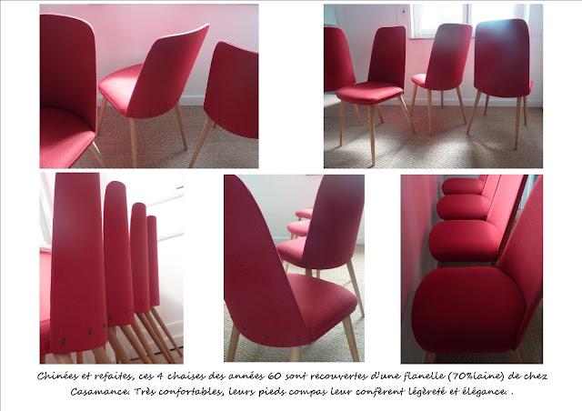 Chaises vintage restaurées rouge