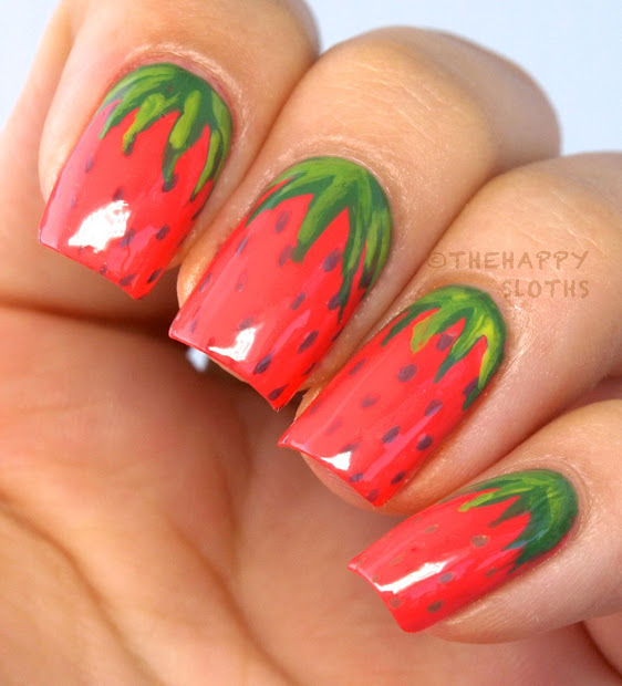 Strawberry Manicure Nail Art Design Happy Sloths Beauty & Makeup