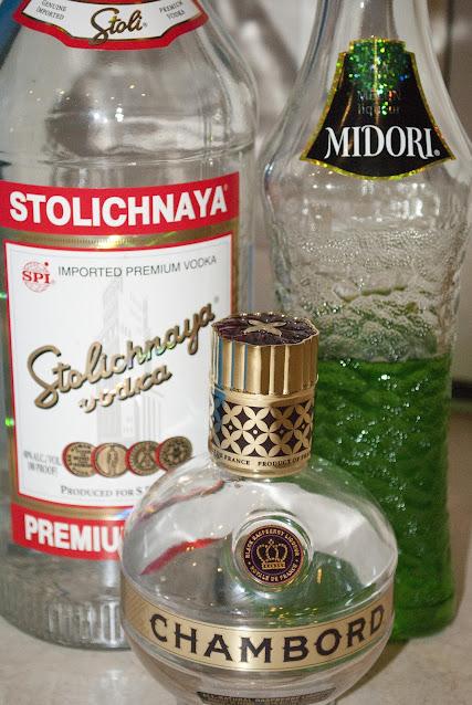 vodka, Y2K cocktail shot, midori, melon liqueur, chambord, black raspberry liqueur