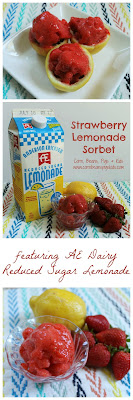 3 Ingredient Strawberry Lemonade Sorbet #AEdairy
