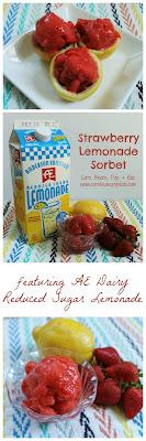 3 Ingredient Strawberry Lemonade Sorbet #AEdairy